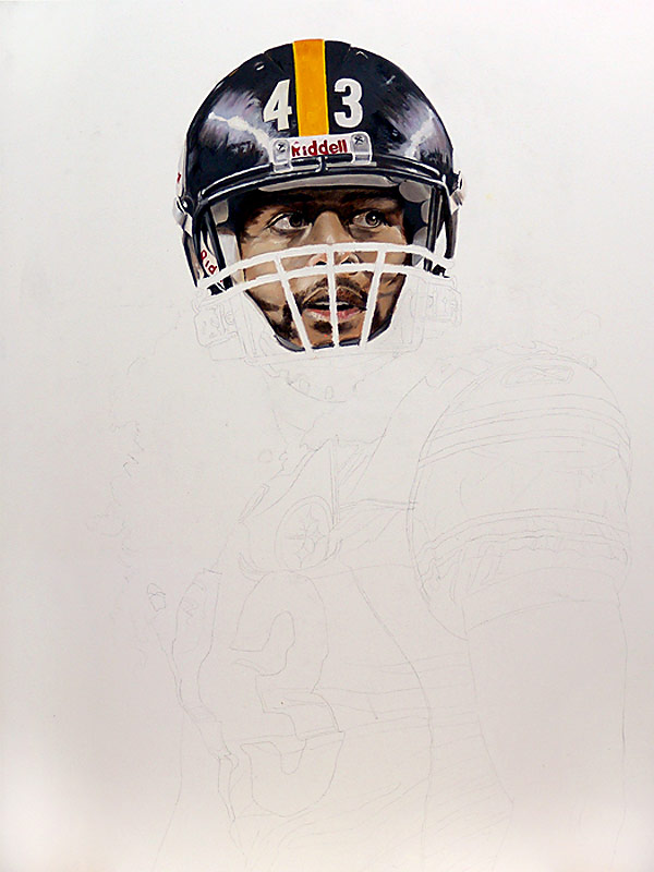 Troy Polamalu Painting WIP 01