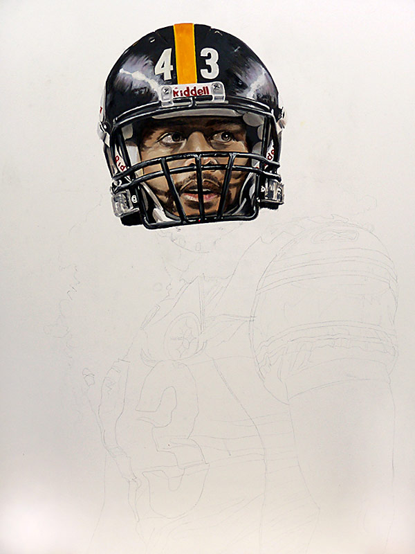 Troy Polamalu Painting WIP 02