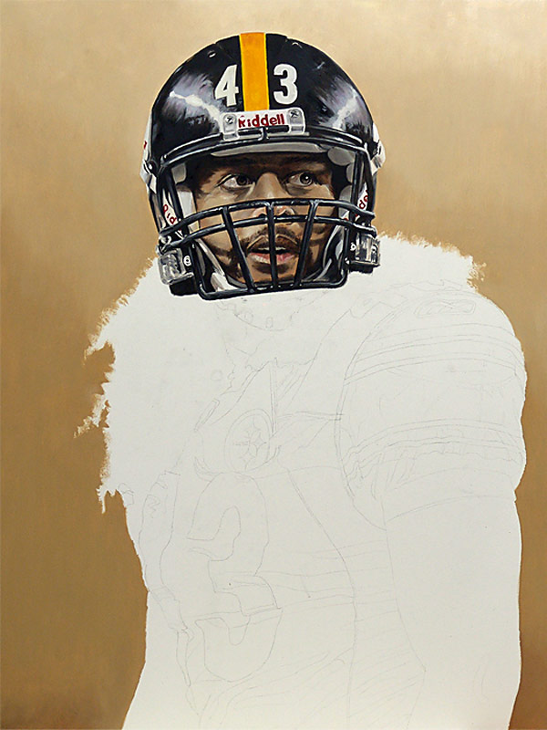 Troy Polamalu Painting WIP 03