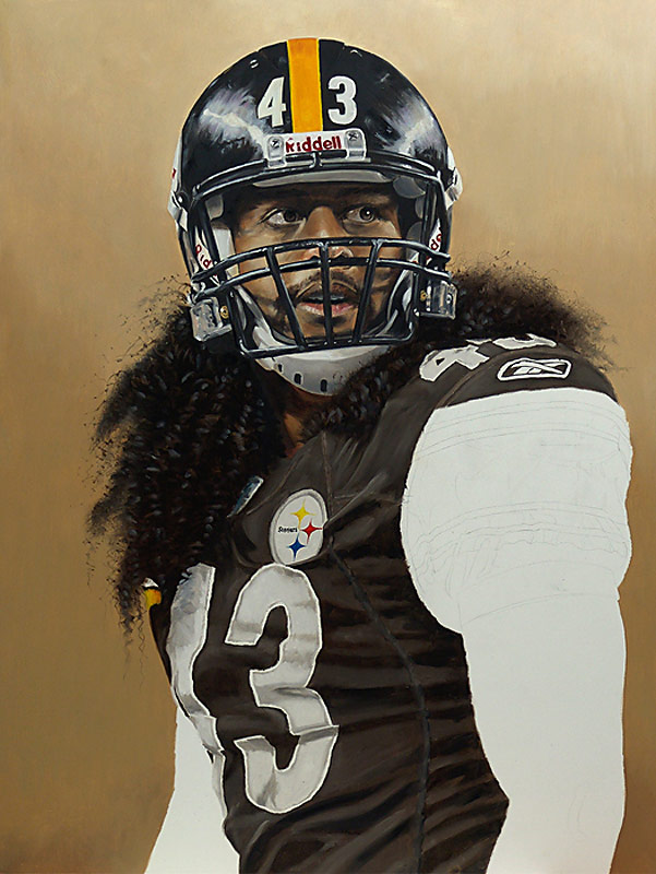 Troy Polamalu Painting WIP 06