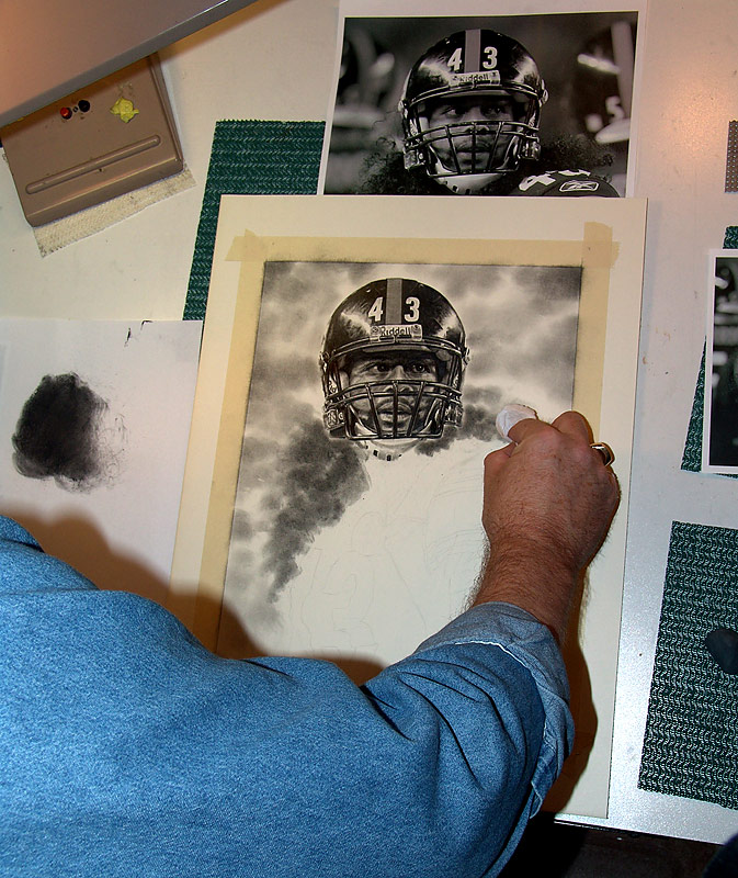 Troy Polamalu Pencil WIP 04