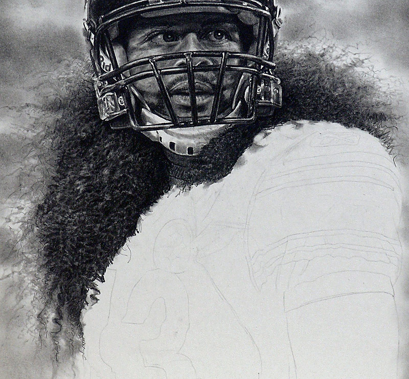 Troy Polamalu Pencil WIP 05