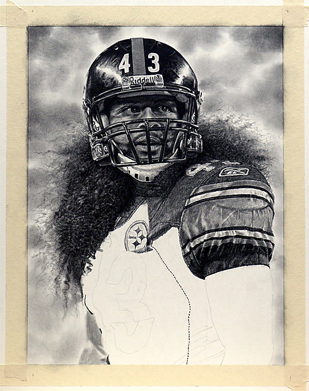 Troy Polamalu Pencil WIP 08