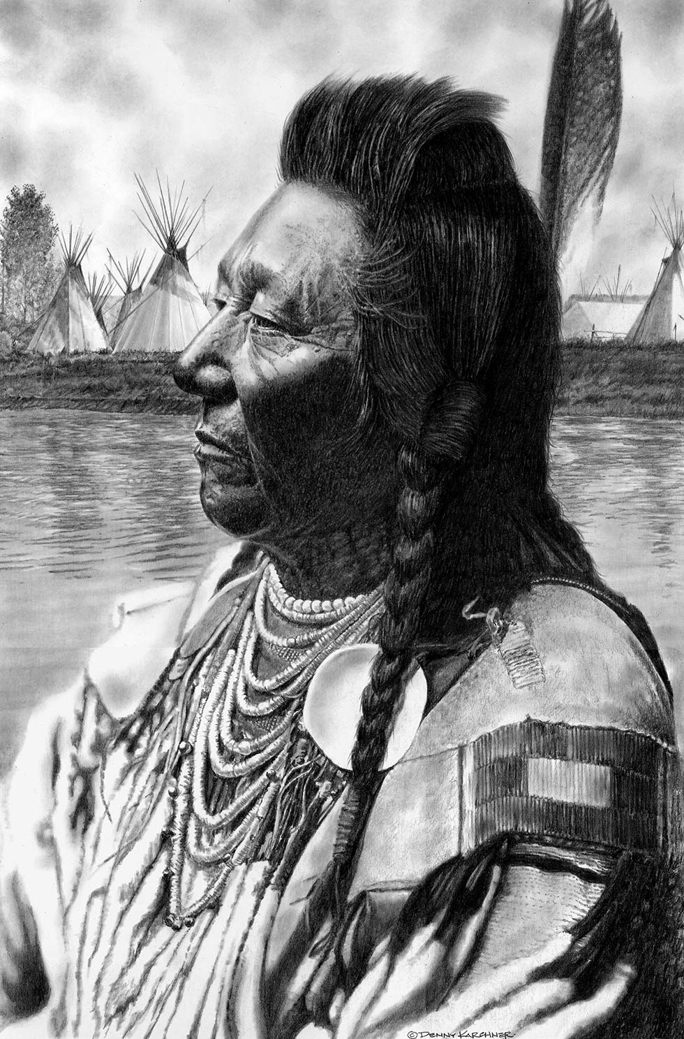 Pencil Illustration Of Chief Plenty Coups