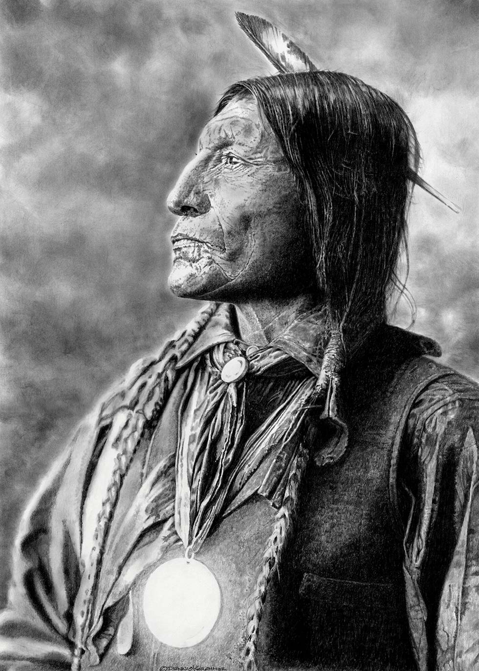 Pencil Illustration Of Chief Wolf Robe