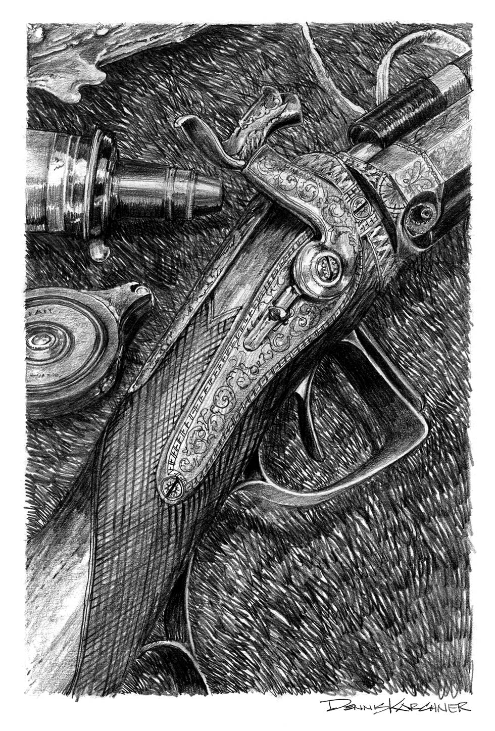 Pencil Illustration Of Engraved Muzzleloader