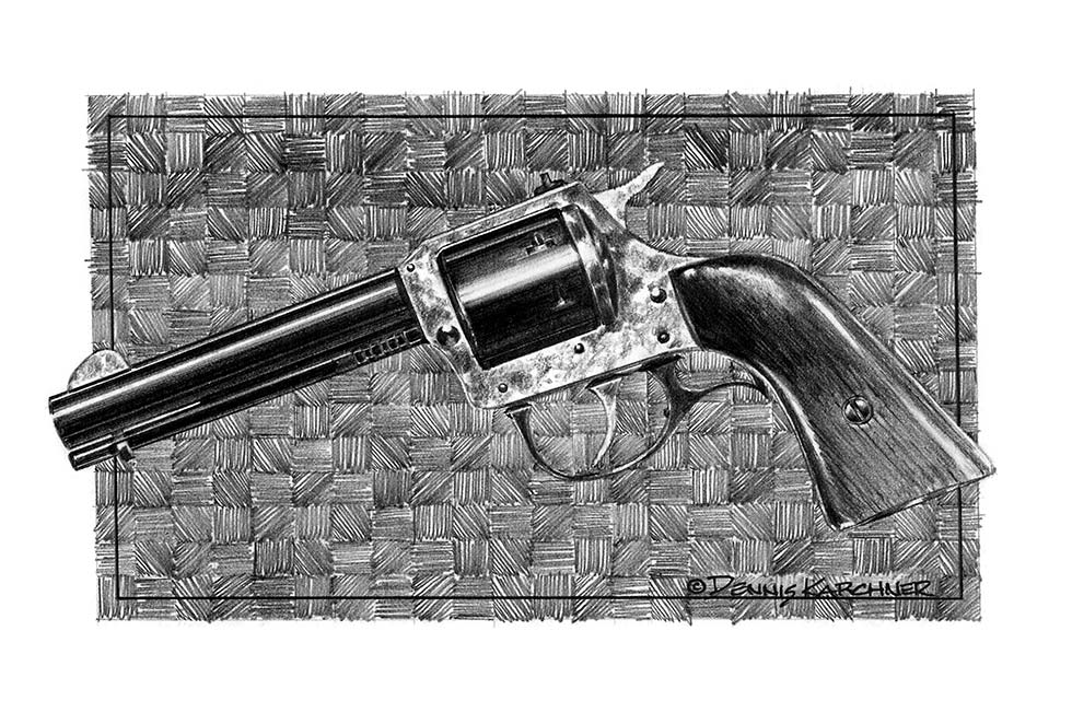 Pencil Illustration Of HR 22 Caliber Pistol
