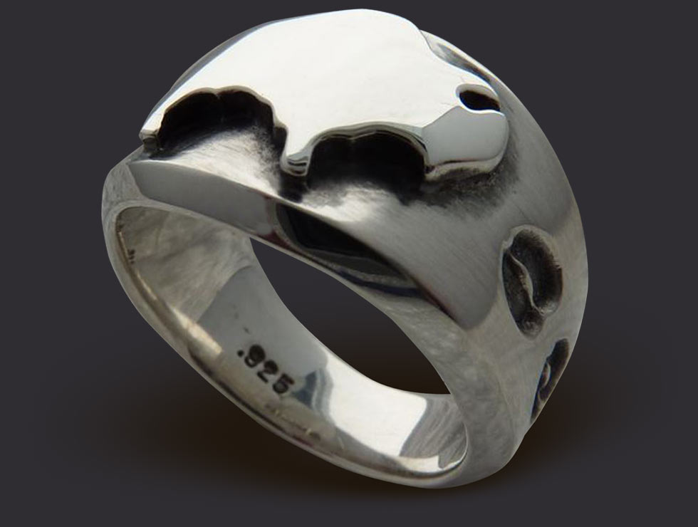 Ladies American Spirit Sterling Silver Buffalo Ring