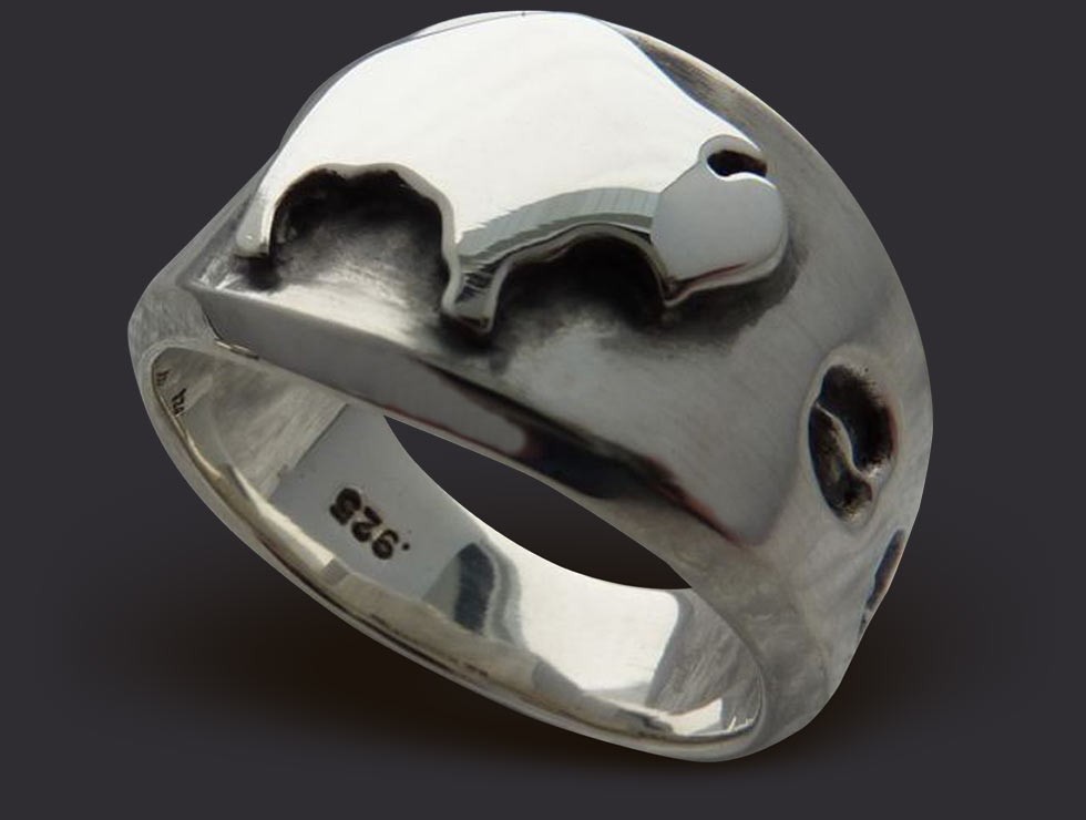 Mens American Spirit Sterling Silver Buffalo Ring