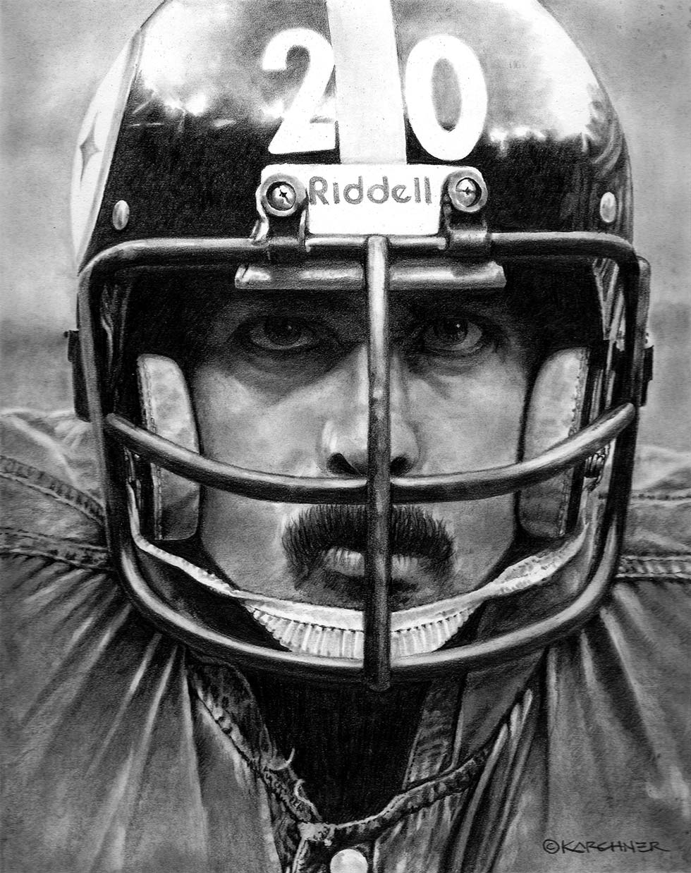 Rocky Bleier €� Intensity To The Tenth Power Pencil Illustration