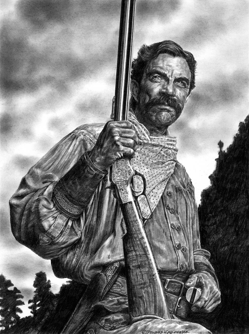 Pencil Illustration Of Tom Selleck With Rifle