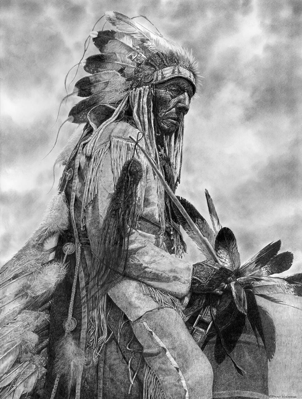 Pencil Illustration Of The Old Cheyenne