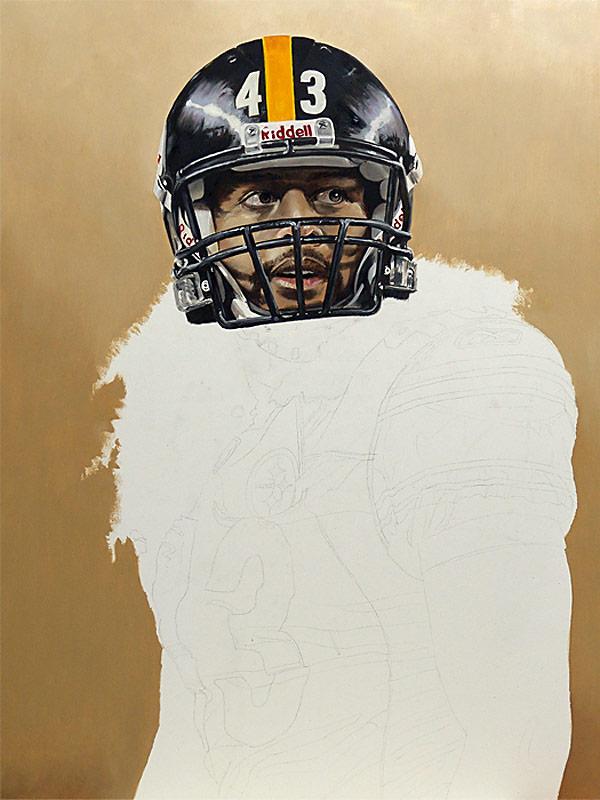 Troy Polamalu Painting WIP 03