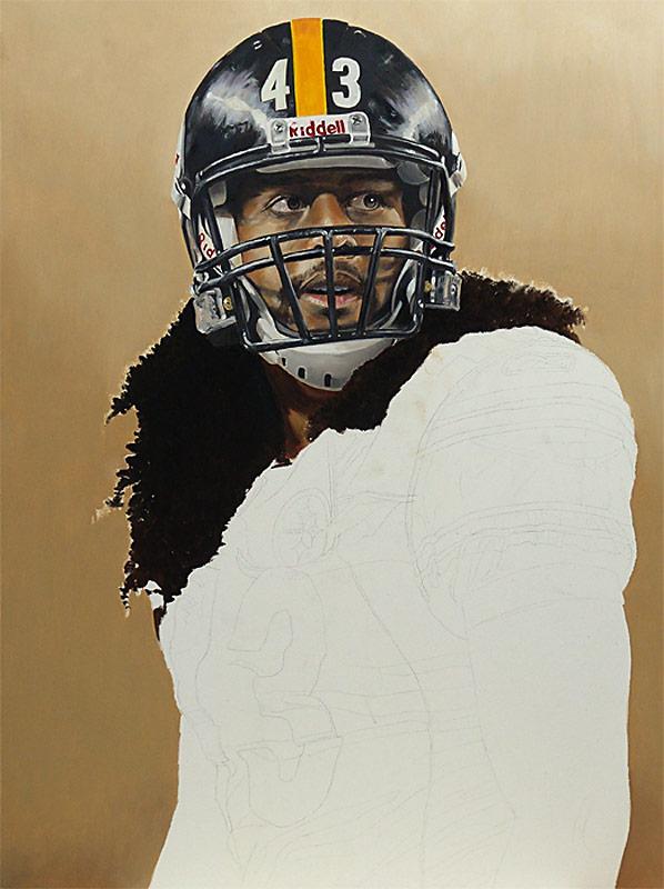 Troy Polamalu Painting WIP 04