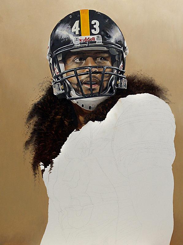 Troy Polamalu Painting WIP 05