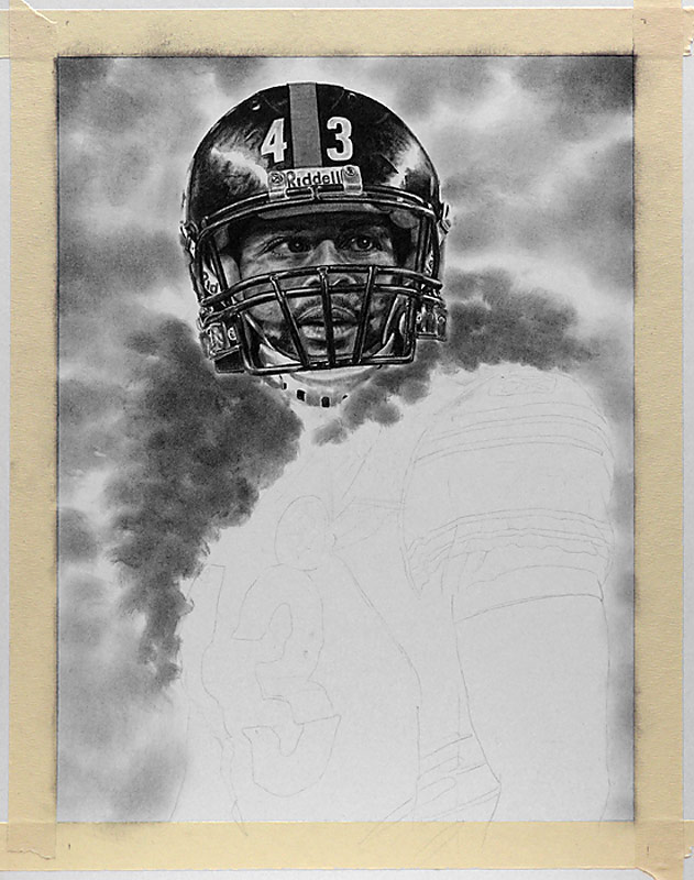 Troy Polamalu Pencil WIP 02