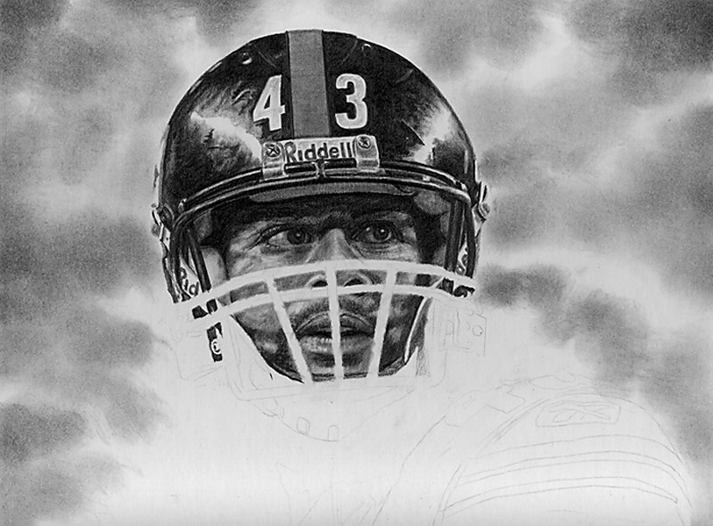 Troy Polamalu Pencil WIP 03
