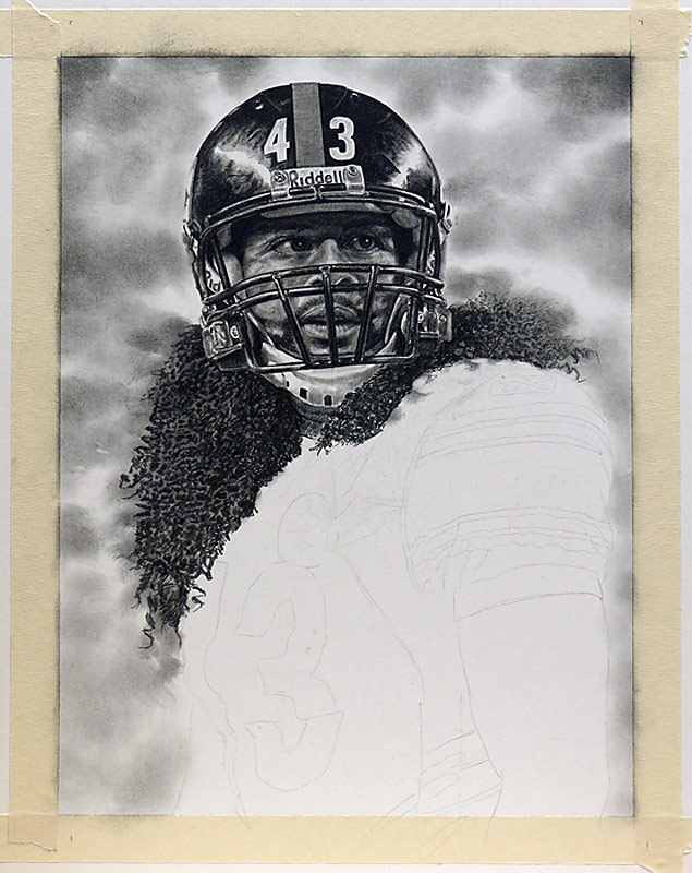Troy Polamalu Pencil WIP 06