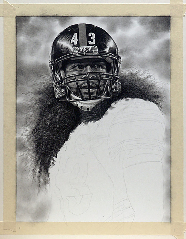 Troy Polamalu Pencil WIP 07