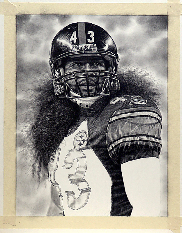 Troy Polamalu Pencil WIP 09
