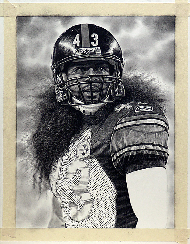 Troy Polamalu Pencil WIP 10