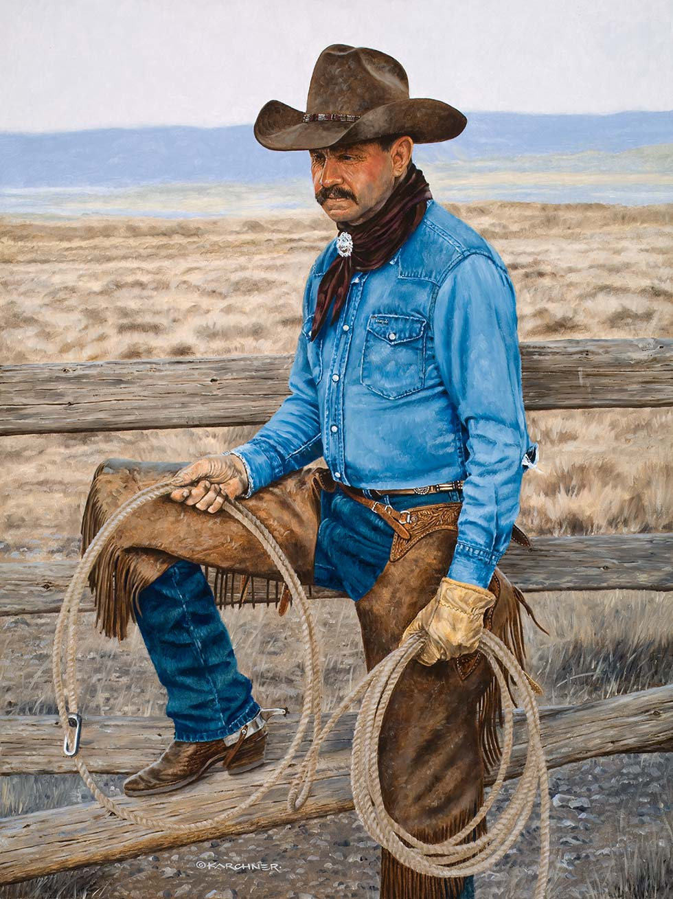 Painting Of The Bronze Cowboy